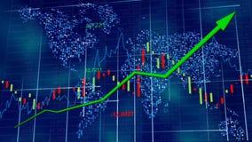 Blauwe hi-tech achtergrond - voorraaddiagrammen met het toenemen pijl Wereldkaart achter cijfers, lijn en lijsten royalty-vrije stock foto