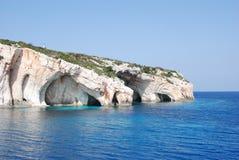 Blauwe Holen, het eiland blauw overzees van Zakynthos strand Griekenland Royalty-vrije Stock Afbeeldingen