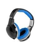 Blauwe hoofdtelefoons Stock Fotografie