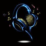 Blauwe hoofdtelefoons met Muziek Vector illustratie Stock Fotografie