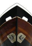 Blauwe houten bootboeg! stock afbeelding