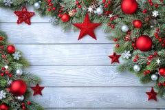 Blauwe houten Kerstmisachtergrond Royalty-vrije Stock Afbeelding