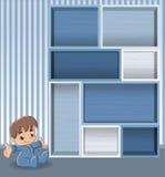 Blauwe houten plank met babyjongen vector illustratie