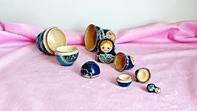 Blauwe houten poppen Stock Fotografie