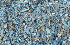 Blauwe houten spaander of tuinmuls Royalty-vrije Stock Afbeeldingen