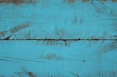Blauwe houten textuur, hoogste mening van houten lijst Sluit omhoog van gekleurde rustieke muurachtergrond, textuur van oude hoog stock afbeelding