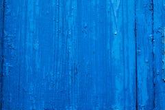 Blauwe houten textuur met structuur en barsten Stock Foto