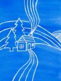 Blauwe huis, bomen en heuvels, waterverfillustratie Royalty-vrije Stock Foto