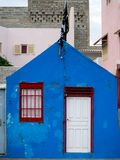 Blauwe huismuur, Kaapverdië Stock Fotografie