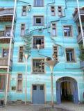 Blauwe huisvoorgevel Stock Afbeelding
