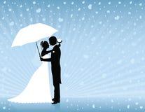 Blauwe huwelijksachtergrond. Stock Foto's