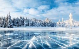 Blauwe ijs en barsten op de oppervlakte van het ijs Bevroren meer onder een blauwe hemel in de winter De heuvels van pijnbomen De stock fotografie