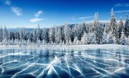 Blauwe ijs en barsten op de oppervlakte van het ijs Bevroren meer onder een blauwe hemel in de winter De heuvels van pijnbomen De stock afbeelding