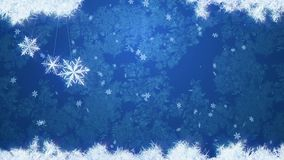 Blauwe ijs en sneeuwvalachtergrond met drie slingerende sneeuwvlokken r royalty-vrije illustratie