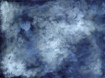 Blauwe Indigo Wit Dusty Abstract Background - Inkt op papier Stock Foto