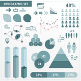 Blauwe infographic reeks Stock Fotografie