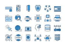 03 Blauwe INTERNET-geplaatste pictogrammen royalty-vrije illustratie