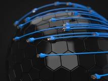 Blauwe Internet-kabels die hi-tech gebied behandelen conceptuele 3d illustratie van ethernetkabel en rj-45-stop Royalty-vrije Stock Foto