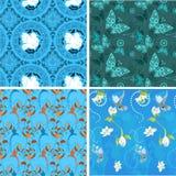 Blauwe inzamelings naadloze patronen Royalty-vrije Stock Foto's