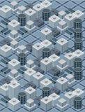 Blauwe isometrische stad Stock Foto