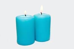 Blauwe kaarsen Stock Foto