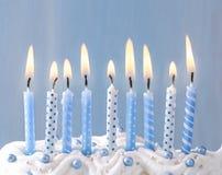 Blauwe kaarsen op een rij Royalty-vrije Stock Afbeelding
