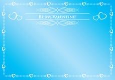 Blauwe kaart - ben mijn valentijnskaart Stock Afbeeldingen