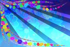 Blauwe kaart met bloemen Royalty-vrije Stock Foto's