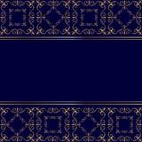 Blauwe kaart met gouden ornament Stock Afbeelding