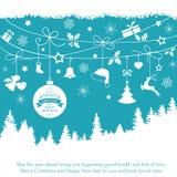 Blauwe kaart met het hangen van Kerstmisornamenten Royalty-vrije Stock Afbeelding