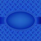 Blauwe kaart met ovaal kader op bloemenachtergrond royalty-vrije illustratie