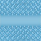 Blauwe kaart met ovaal kader op bloemenachtergrond stock illustratie