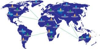 Blauwe kaart met verbonden grafische gebruiker Stock Afbeeldingen