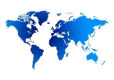 Blauwe kaart van de wereld Stock Afbeeldingen