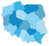 Blauwe kaart van Polen met voivodeships Royalty-vrije Stock Foto