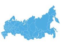 Blauwe Kaart van Rusland stock illustratie