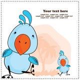Blauwe kaketoepapegaai, groetkaart, vector stock illustratie