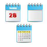 blauwe kalender 2 met dagen, kleurrijke cijfers en 1 lege kalender royalty-vrije stock fotografie
