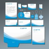 Blauwe kantoorbehoeftenreeks stock afbeeldingen