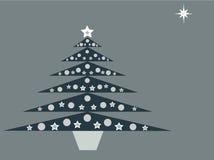 Blauwe Kerstboom op blauwe achtergrond Royalty-vrije Stock Afbeeldingen
