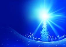Blauwe Kerstkaart Stock Foto