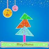 Blauwe Kerstkaart Royalty-vrije Stock Afbeelding