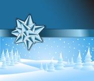 Blauwe Kerstkaart met sneeuwlandschap Royalty-vrije Stock Foto's