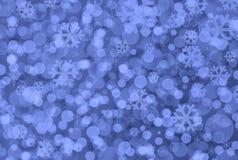 Blauwe Kerstmis lichte achtergrond Stock Afbeelding