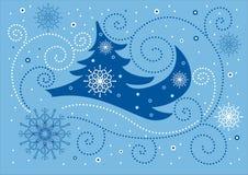Blauwe Kerstmisachtergrond Stock Fotografie