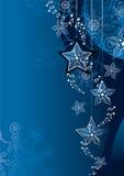 Blauwe Kerstmisachtergrond Stock Afbeelding