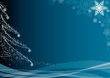 Blauwe Kerstmisachtergrond Stock Foto