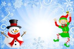 Blauwe Kerstmisachtergrond met een sneeuwman en Gr Stock Foto's