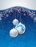 Blauwe Kerstmisachtergrond met gouden ballen stock illustratie