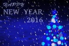 Blauwe Kerstmisachtergrond met het schrijven van 2016 Royalty-vrije Stock Afbeeldingen